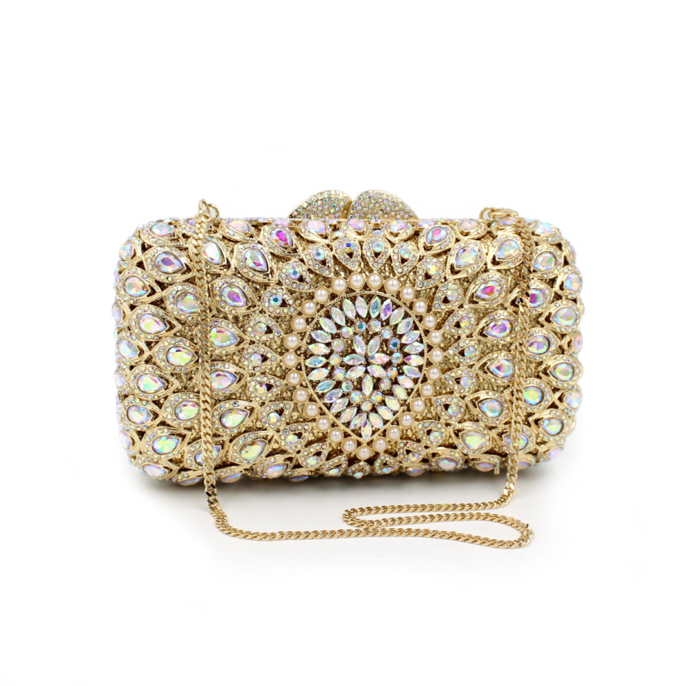2017 European and American luxury hollow diamond evening bag clutch banquet crystal wedding prom party handbag dinner clutch bag