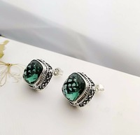 Party Wearing Big Size Cut Multi Green Crystal Stud Punk Vintage Square Push Back Clasp Earrings