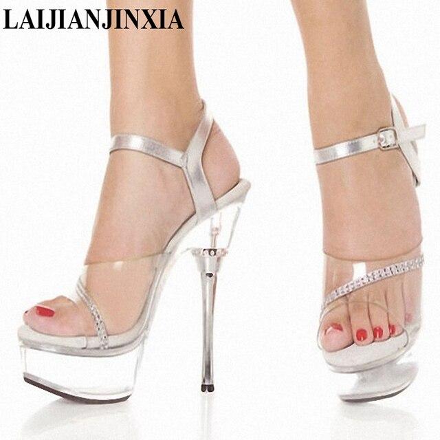 6fa868c23 LAIJIANJINXIA Transparent Platform Shoes Sexy Dance Shoes 14 CM High Heels  Sandals Night Club Women Pole Dancing Shoes M-027