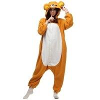 Adults Polar Fleece Kigurumi Rilakkuma Cosplay Costume Animal Onesies Pajamas Halloween Carnival Masquerade Party Jumpsuit