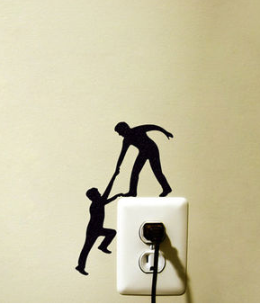 Climbing Light Switch Sticker - Helping Hands Wall Decal