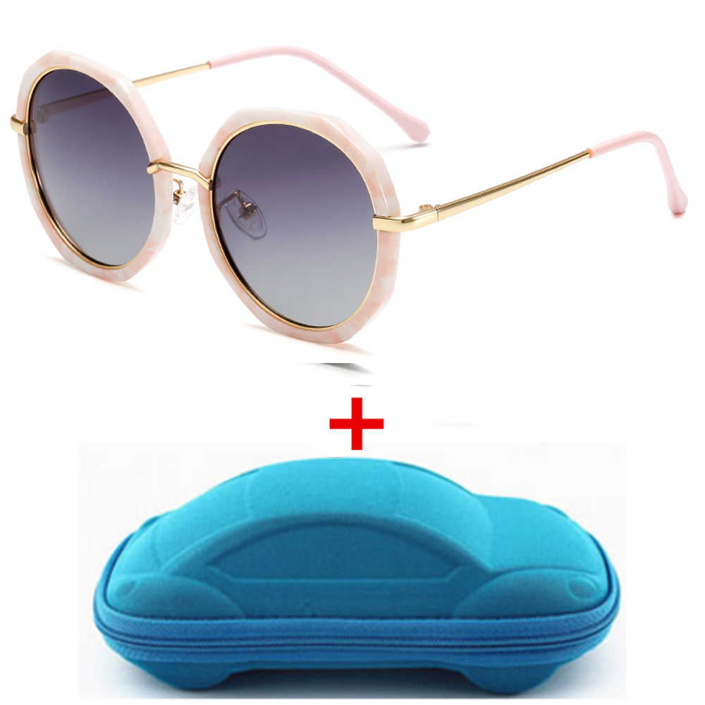 ילדי משקפי שמש עם מקרה מקוטב אופנה בנות בני שמש משקפיים מתנה לילדים שיפוע מתכת מסגרת Eyewear Gafas UV400