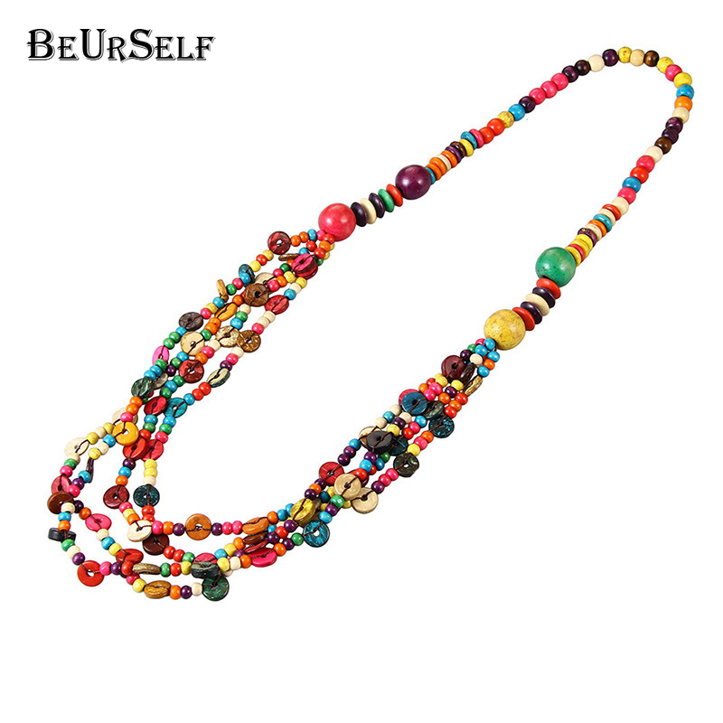 BeUrSelf 2018 Newest coconut shell multi-layer colorful wood bead knitted coconut shell necklace Bohemian Necklace for Women