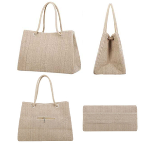 Image 3 - אופנה נשים פשתן תיק גדול קניות Tote חג גדול סל שקיות קיץ חוף תיק ארוג חוף כתף תיק JXY550