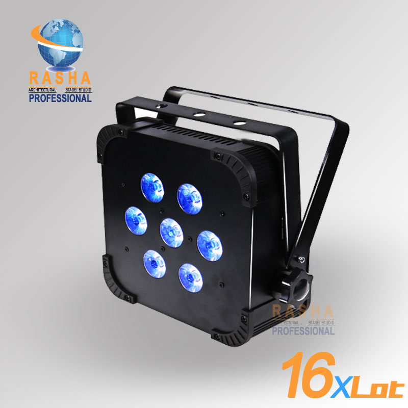 16X LOT Rasha Quad 7pcs*10W RGBA/RGBW 4in1 DMX512 LED Flat Par Light,Wireless LED Par Can For Disco Stage Party 2x lot rasha quad factory price 12 10w rgba rgbw 4in1 non wireless led flat par can disco led par light for stage event party