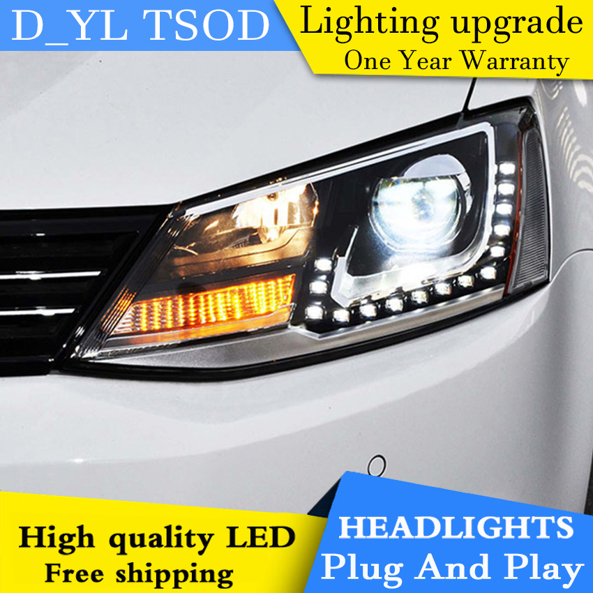 Car Styling Headlight Assembly for VW Jetta MK6 GLI 2012 2015 Bi Xenon LED Headlight LED