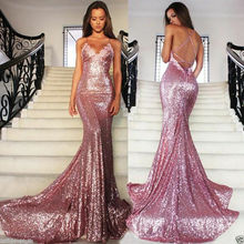 Sequined Long Evening Formal Dress 2019 Sexy Mermaid Pageant Party Prom Gowns women girl