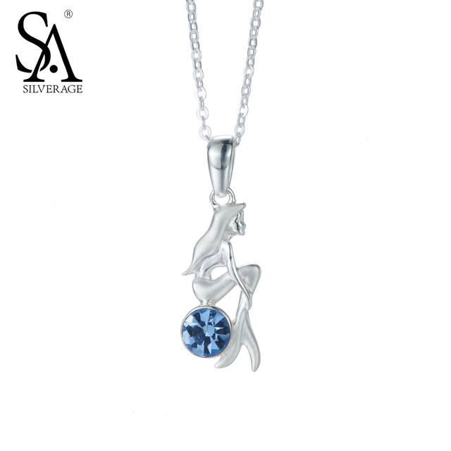 925 Sterling Silver Mermaid Charms Necklaces Blue CZ Sterling Silver Necklaces &