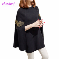 Cheshanf Autumn Winter Runway Black Gray Embroidered Bead Ponchos And Capes Pullovers Knitted Wool Sweater Women