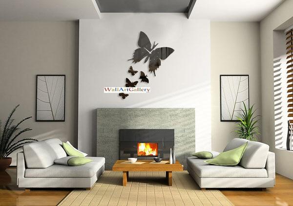 Décoration murale salon décorations pour la maison le papillon effet miroir horloge murale design