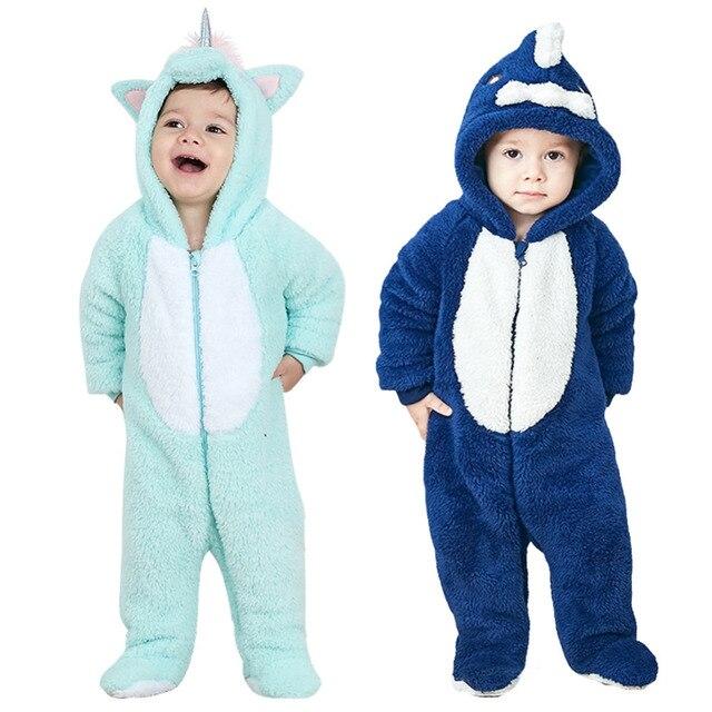 00b82c12aaeb Unisex Baby Unicorn Shark Halloween Romper Baby Plush Hooded Footie ...