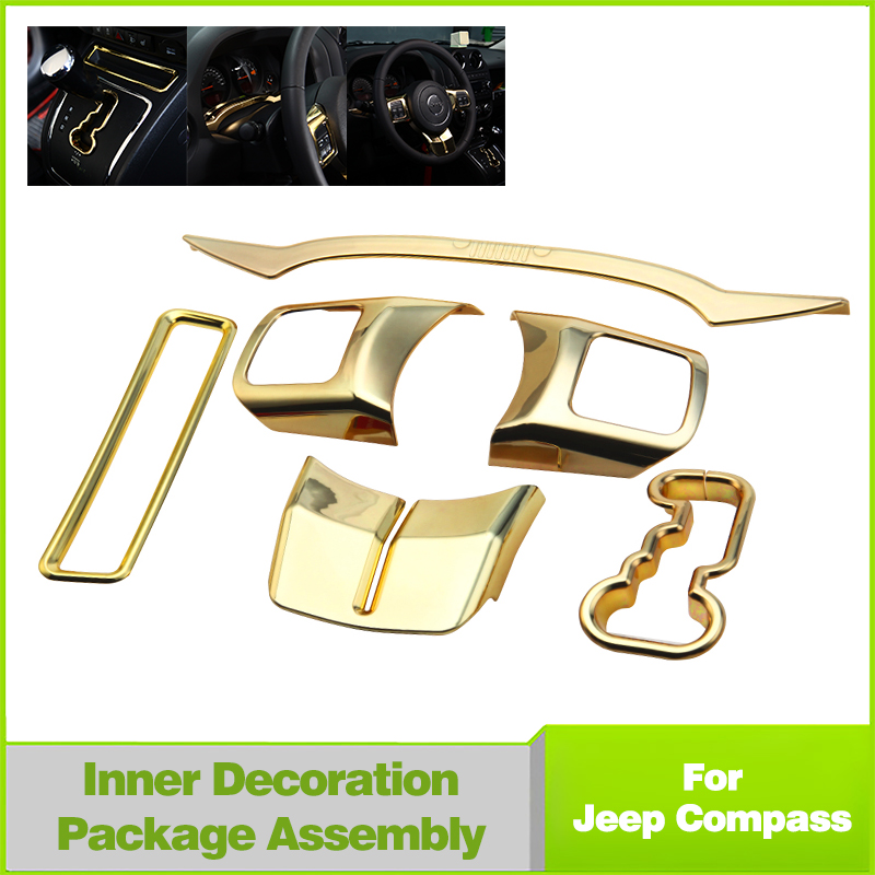 1set Abs Gold Cab Interior Accessories Cover Trim For Jeep