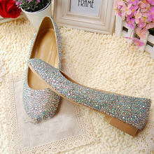 Fashionable and elegant Full drill Crystal wedding shoes Flat Heel AB Crystal shoes bridal Princess Dress Dancing Shoes