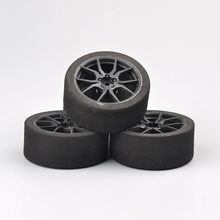 цена 12mm Hex RC Racing Cars Accessories 4Pcs Set Racing Foam Tire Wheel Rim Set For HSP HPI 1/10 On-road RC Car