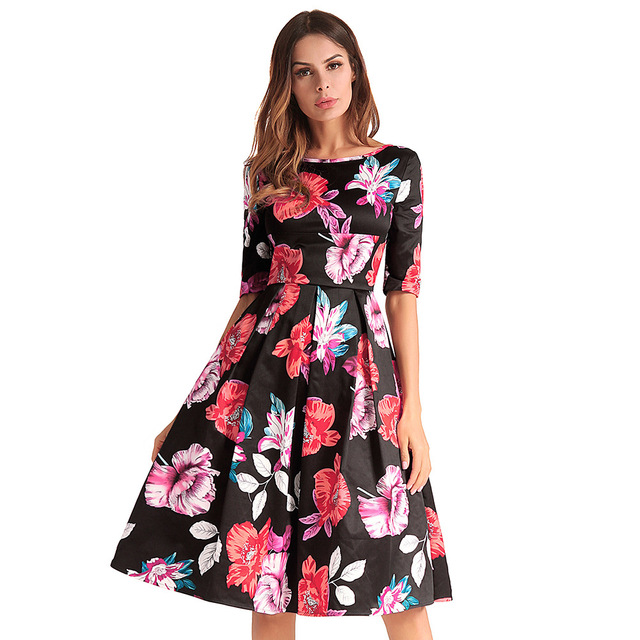cross-border electricity amazon posed in dress printing round collar spring summer  2018 women s clothing Free Shipping 0af23742d20e