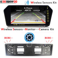 KOORINWOO Latest HD CCD EU European Car License Rear View Camera Wireless License Plate Frame Parking Camera Car Video Monitor