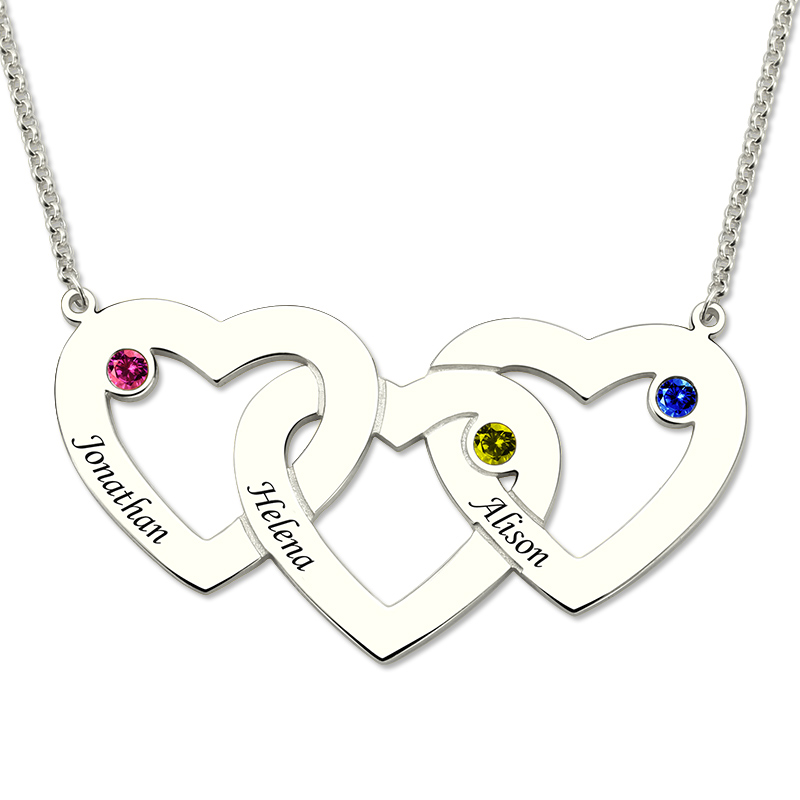 Wholesale Sterling Silver Three Hearts Birthstones ...