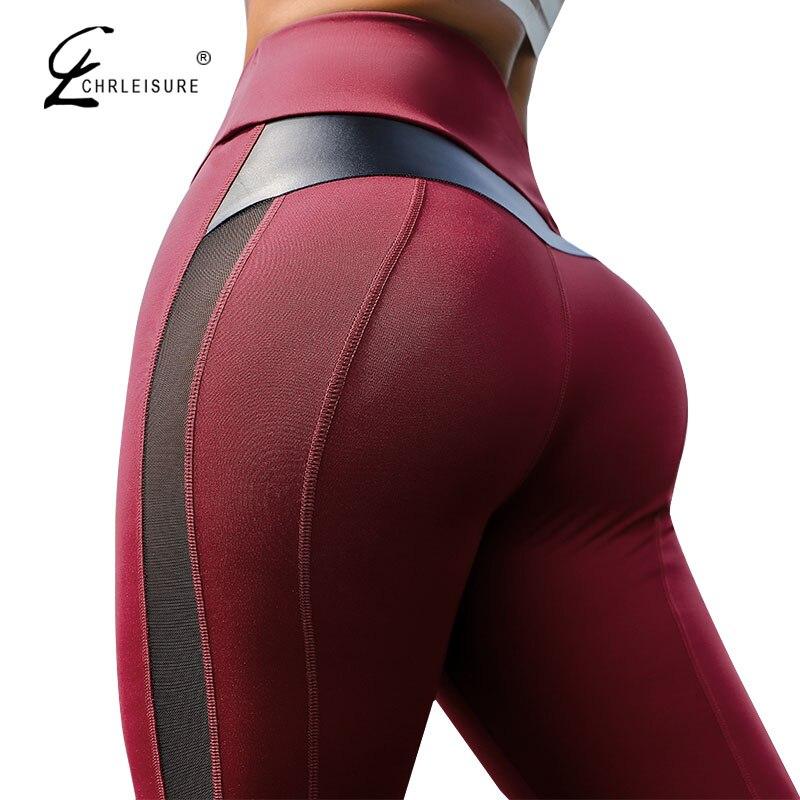 CHRLEISURE Women For Leggings High Waist Fitness Leggings Workout Women Mesh And PU Leather Patchwork Leggings S-XL