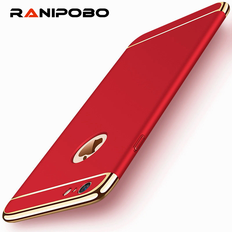 360 Degree Full Protective 3 in 1 Electroplated Armor Phone Case For iPhone X 6 7 8 Plus Matte Hard PC Coque Back Cover