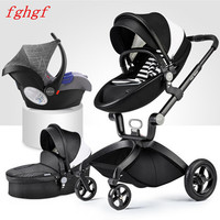 Luxury baby stroller 3 in 1 high landscape four wheels shock absorbers eco leather baby carriage for newborns