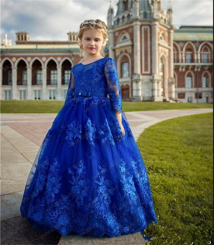 Lace   Flower     Girl     Dress   For Wedding Customized   Girls   Birthday Party Gown with Belt Backless Sexy Pageant Gowns Vestidos De Fiesta