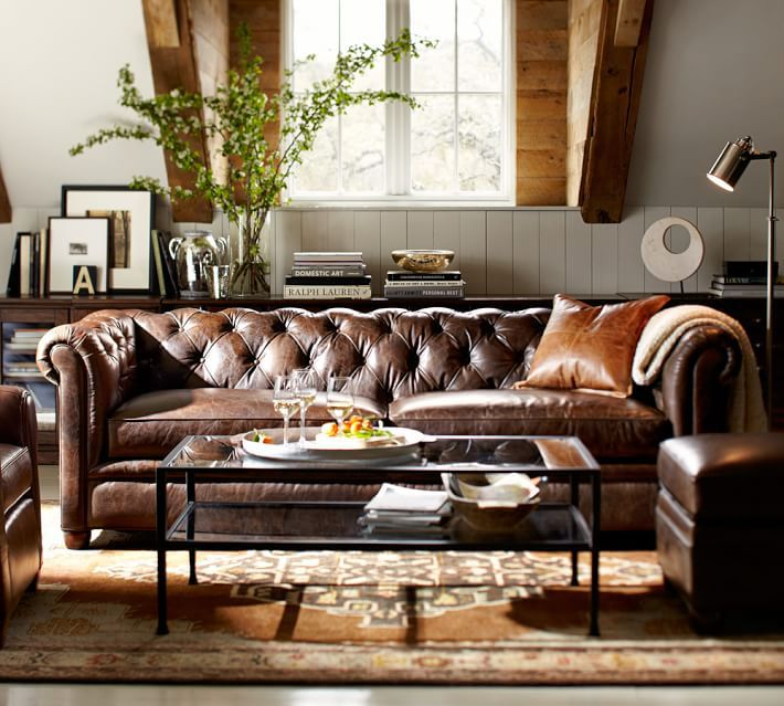 S004 L Royal Leather Sofa Square Arm 3 Seats In Coffee Tables