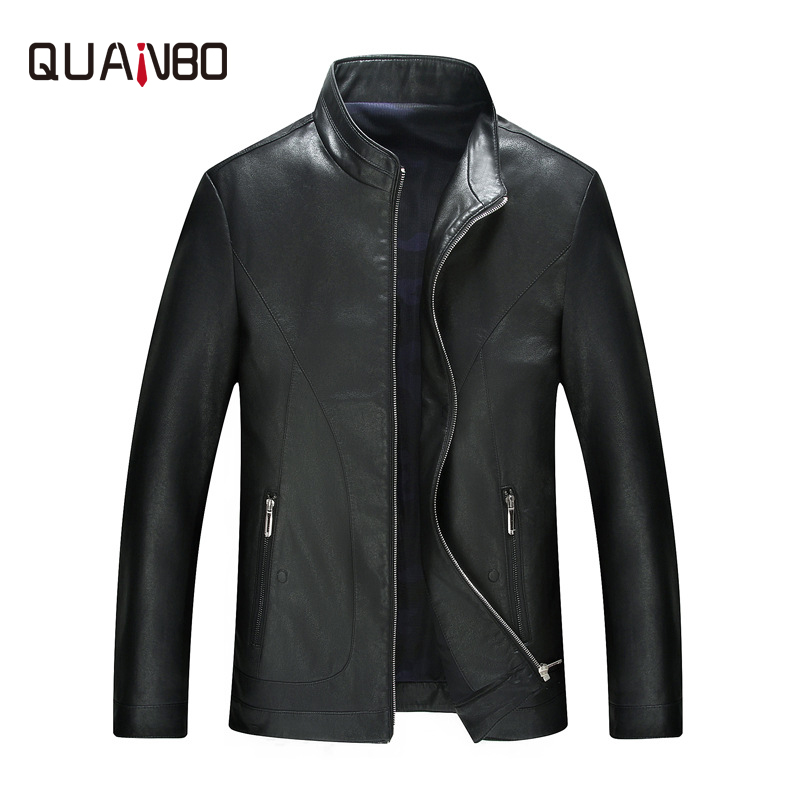 QUANBO 2019 New Spring Autumn Men Business Casual Sheep Leather Men Short Jacket High Quality Fashion Trend  Mens Leather Jacket