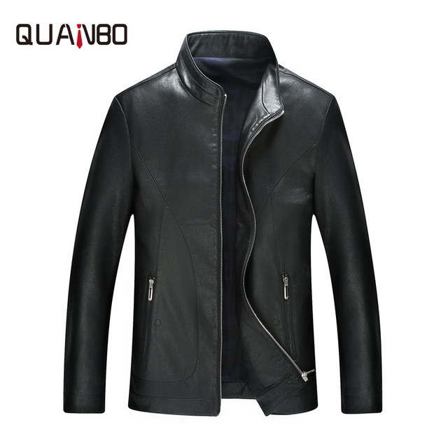 QUANBO Brand Clothing Top Quality Sheep skin Men Leather Fashion Stand Thin Leather Jacket Male Casual Coat Spring Autumn Black