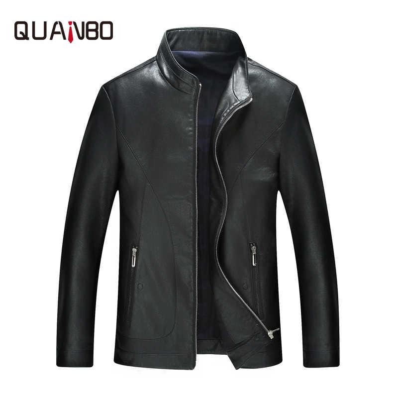 QUANBO брендовая одежда наивысшего качества овечья кожа мужская кожаная Модная тонкая мужская кожаная куртка повседневная куртка весна осень черный
