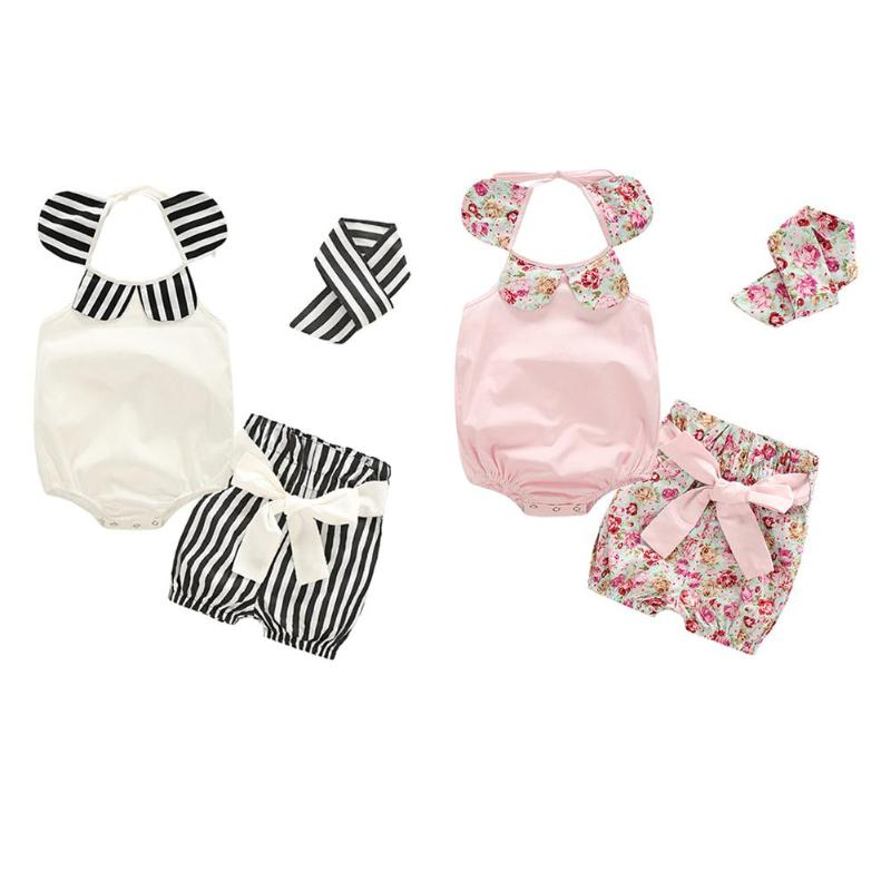 3Pcs Summer Baby Girl Clothes Set Newborn Baby Rompers Girls Casual Sleeveless Petals Neckline Romper Stripe Shorts Headband Set