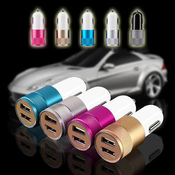 Multi-color Dual USB 5V 2A Auto Smart Phone PC Charger Metal Portable Car Cigarette Lighter Charger фото