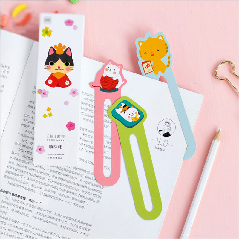 30pcs/box Miss Cat Gift Bookmarks Marker Stationery Gift Realistic Cute Kawaii Cartoon Bookmarks Office School Supply Stationery