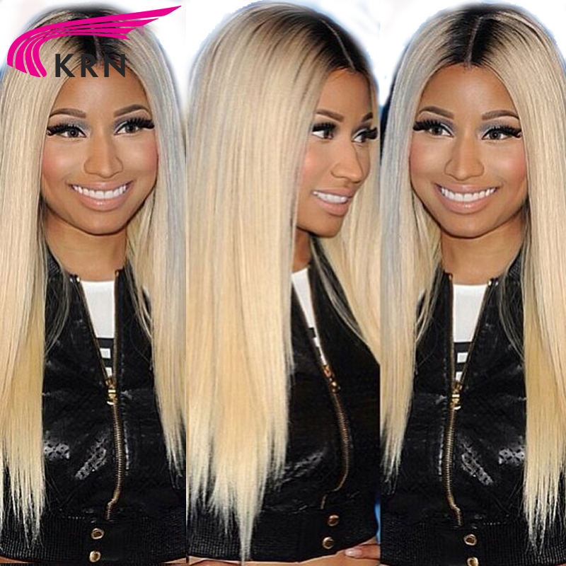 KRN 1b/613 Ombre Lace Front Human Hair Wigs With Baby Hair 130 Density Brazilian Remy Lace Front Wigs Natural Hairline