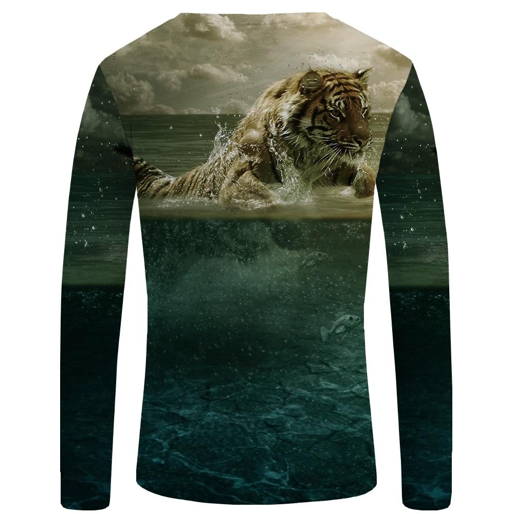 KYKU Brand Tiger T shirt Men Long sleeve shirt Animal Cool Interesting Streetwear Yellow 3d T shirt Clothes Graphic in T Shirts from Men 39 s Clothing