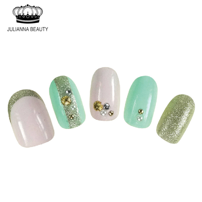 Nuevo Fake Full Nail Art Tips Glitter Lace Short Oval 3D Nail Tip Con - Arte de uñas