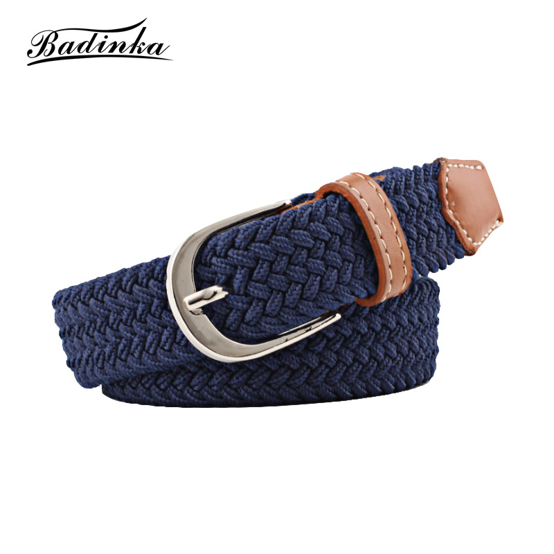 Badinka High Quality Elastic Knitted Canvas   Belt   Decoration Female Pin Buckle Canvas Strap   Belts   for Women Men Jeans Pants 2018