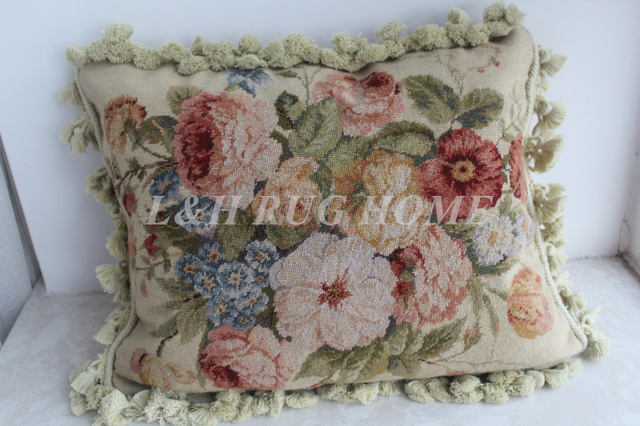 Free Shipping 15k 16 X20 Needlepoint Pillow Handknotted Cushion With Fl Designs No Insertion