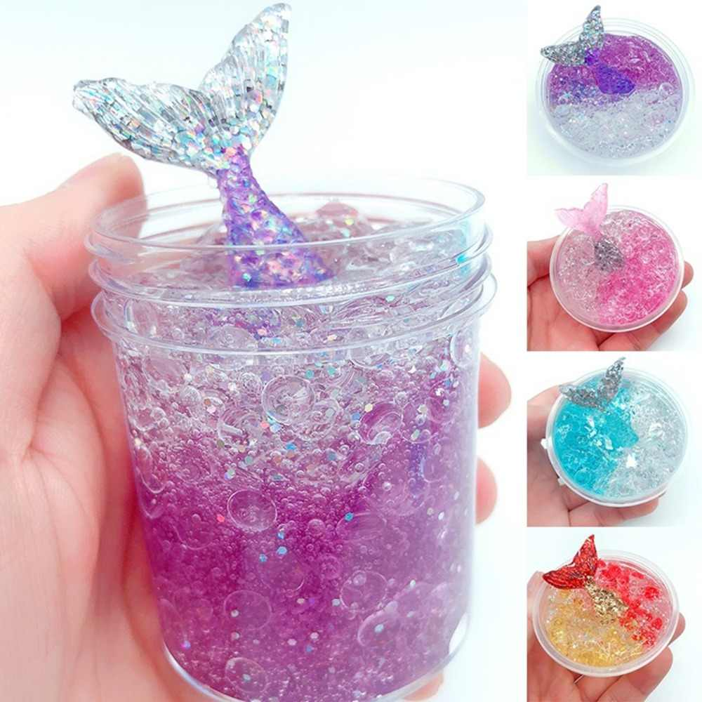 60ml Colorful Exquisite fishbowl beads mermaid Slime crystal mud cotton clay Plasticene DIY decompression Modeling Baby toys