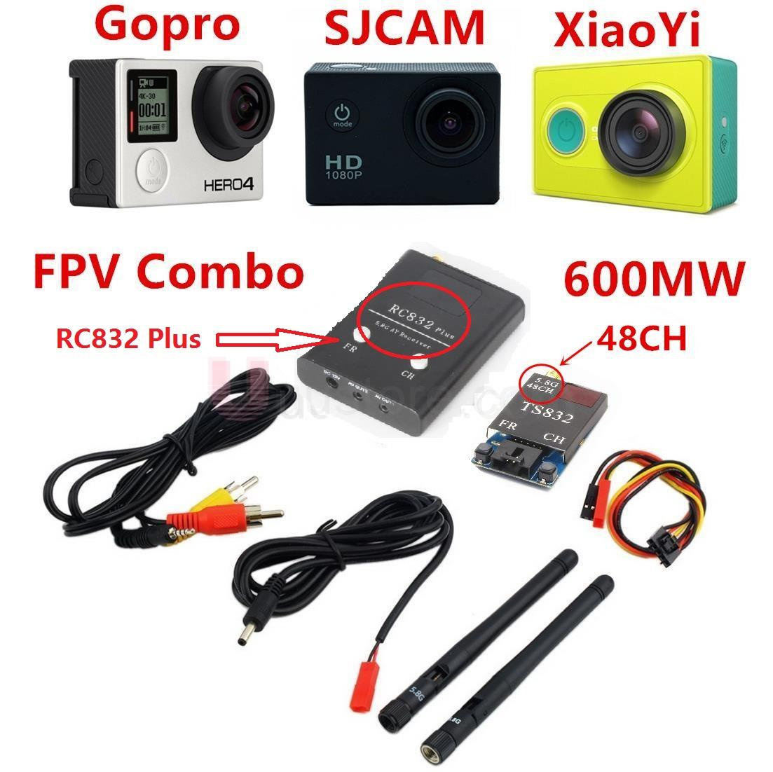 FPV 5 8Ghz 600mW 48CH Wireless AV A V transmitter receiver TS832 RC832 Plus Tx Rx