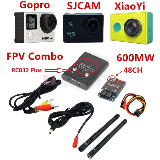 FPV 5.8Ghz 600mW 48CH Wireless  AV A/V transmitter receiver TS832+RC832 Plus Tx & Rx Set for Professional Drones RC Plane QAV250