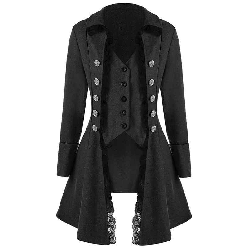 2019 New Men's Lace Coat Gothic Outwear Quality Medieval Steampunk Victorian Tops
