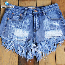 beggars Denim breeches jeans for women of large sizes high waist summer holes Cowboy Loose shorts Street casual girls Hot pants