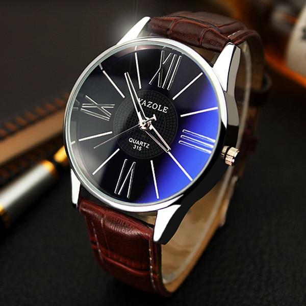 Luxury YAZOLE Leather Watches Men Waterproof Fashion Casual Quartz Watch Dress Business Wrist Watch Hour for Men Male OP001