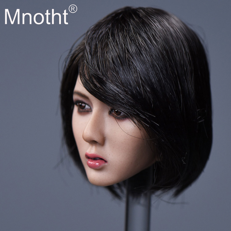 Mnotht Toys 1:6 Scale Beauty Asian Girl Head Sculpt Toys 3 Style Women Head Carving Model Fit For TBL PH Wheat Color Glue Body все цены