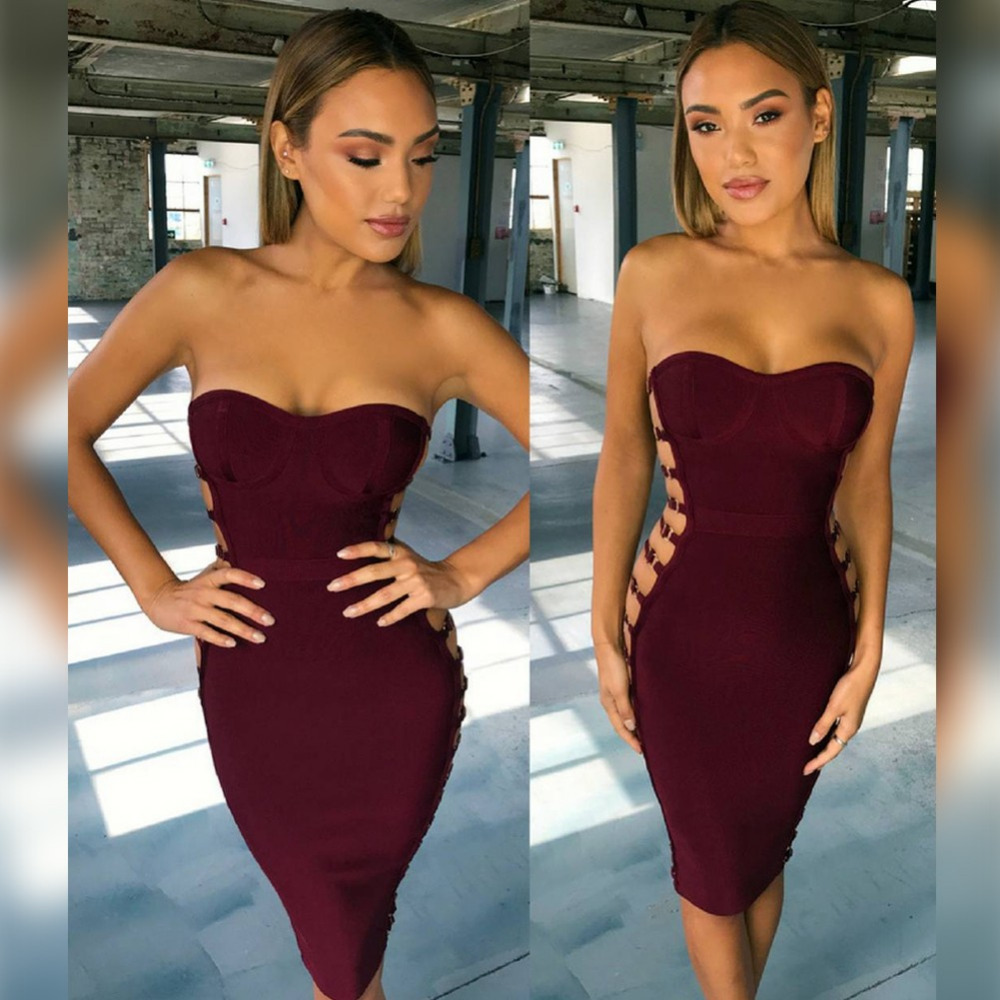 Ocstrade High Quality Women Bandage Dress 2017 New Arrivals Burgundy Sexy Strapless Side Cut Out Pink Bandage Dress
