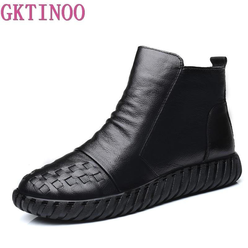 De Zapatos Short La thick Mujer Nuevo Lining Mano Cuero A Lining Mujeres Botas Las Genuino 2018 Moda Invierno Hecho Tobillo Vintage Plush Gktinoo Otoño qBExnAwAa