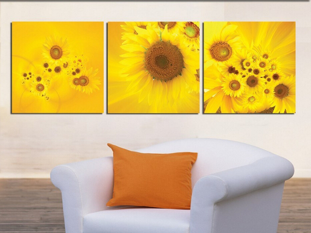 3 Piece Modern Wall Oil Painting Abstract Large yellow sunflower ...