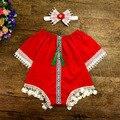 Novo estilo macacão de bebê + headband do bebê boutique de roupas de moda bebê recém-nascido meninas roupas vintage rendas meninas macacão