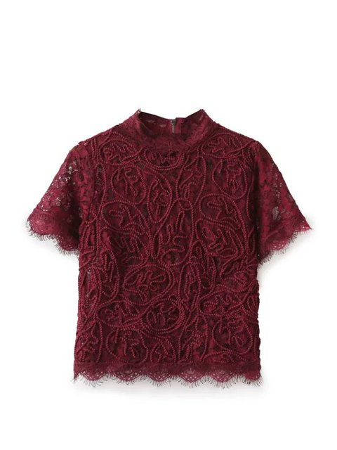 Women short sleeve lace blouse streetwear back zipper red black blue short tops flower sexy novelty female blouses drop shipping