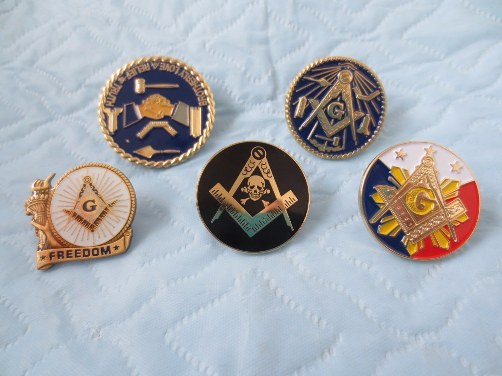 wholesale 5different style of Masonic Lapel Pins Badge Mason Freemason size is from 2.4m to 3cm